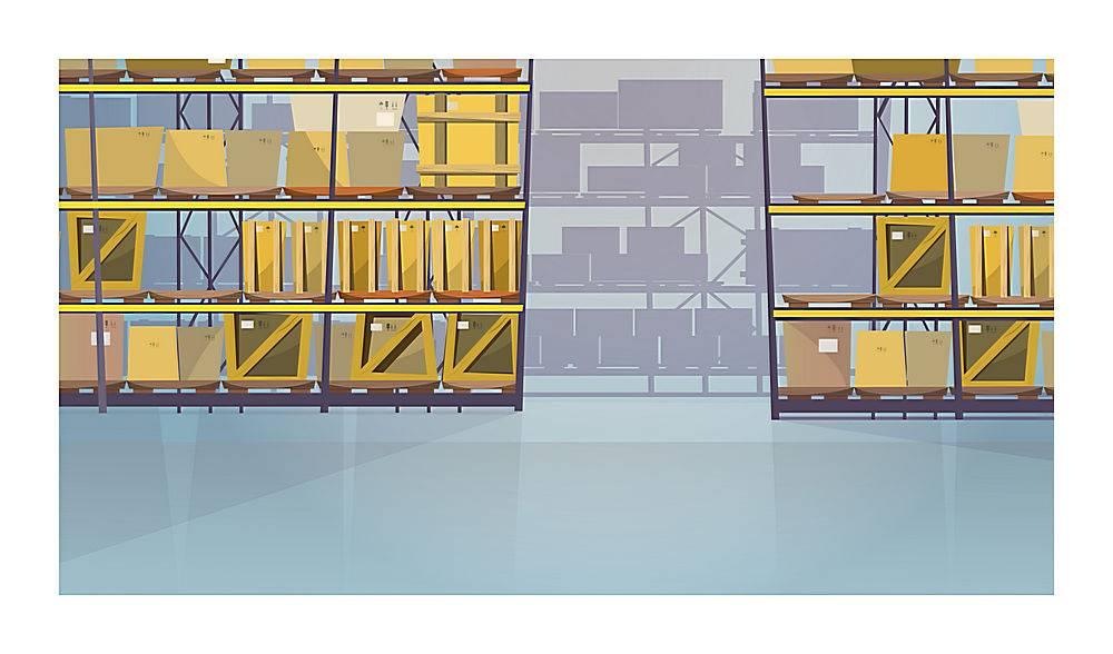 货架上有箱子的大仓库插图_3297759
