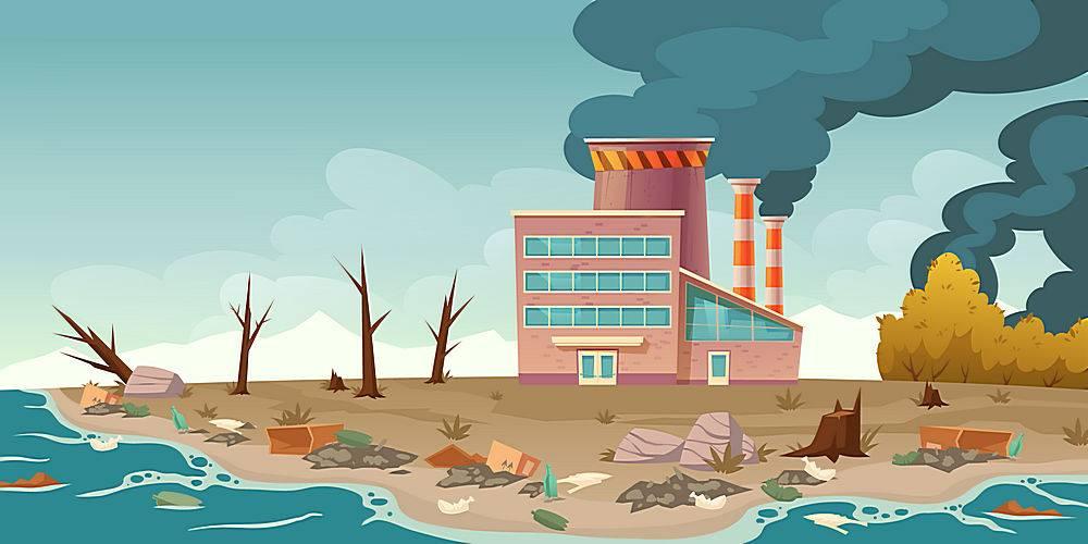 生态污染工厂管道冒烟_8792356