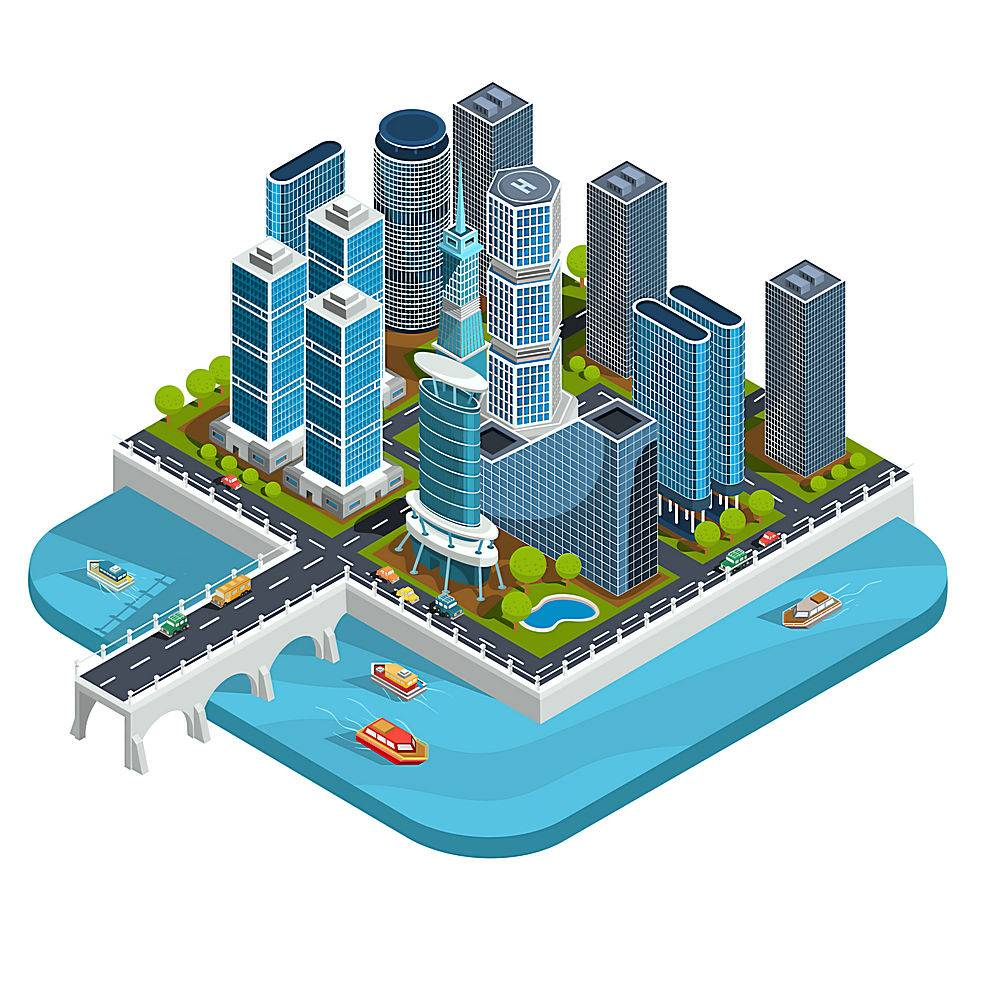 现代城市街区的矢量等轴测3D插图包括摩天_1215818