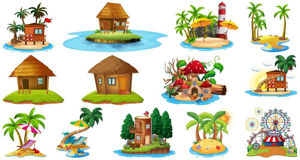 一套不同的海滩主题和游乐园白色背景下隔_9181347