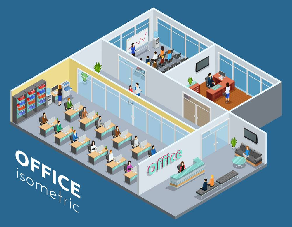 等轴测商务办公室插图_3797681