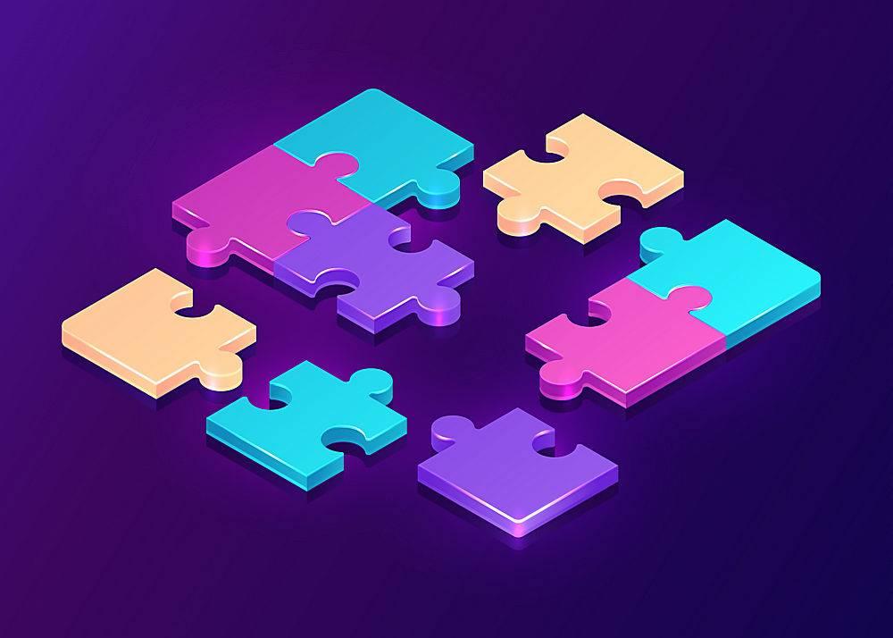 紫色背景上的等距拼图_8117100
