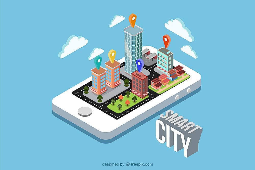 智能城市等轴测设计中的移动背景_1218642