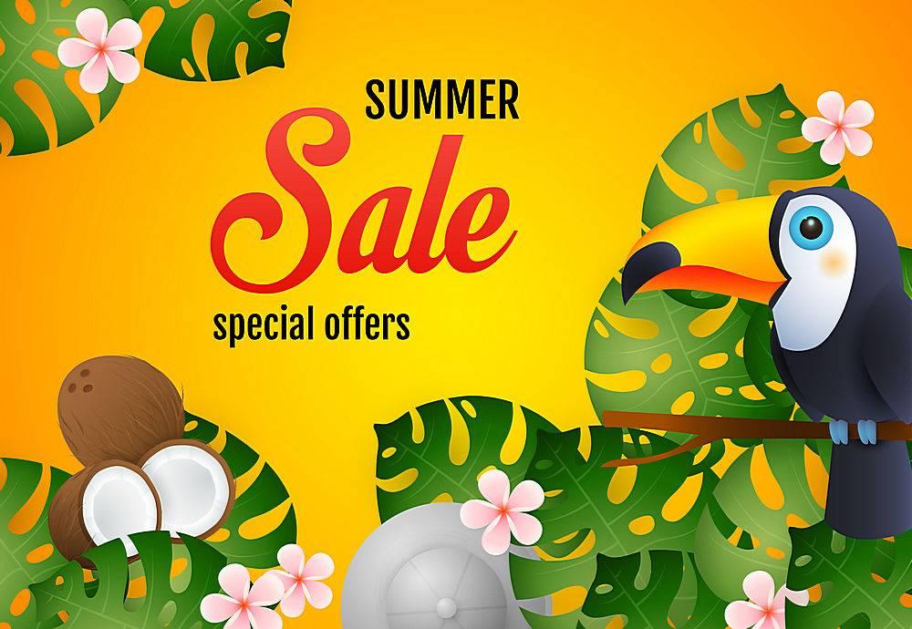 夏季特卖会上印有热带植物巨嘴鸟和椰子_4559012
