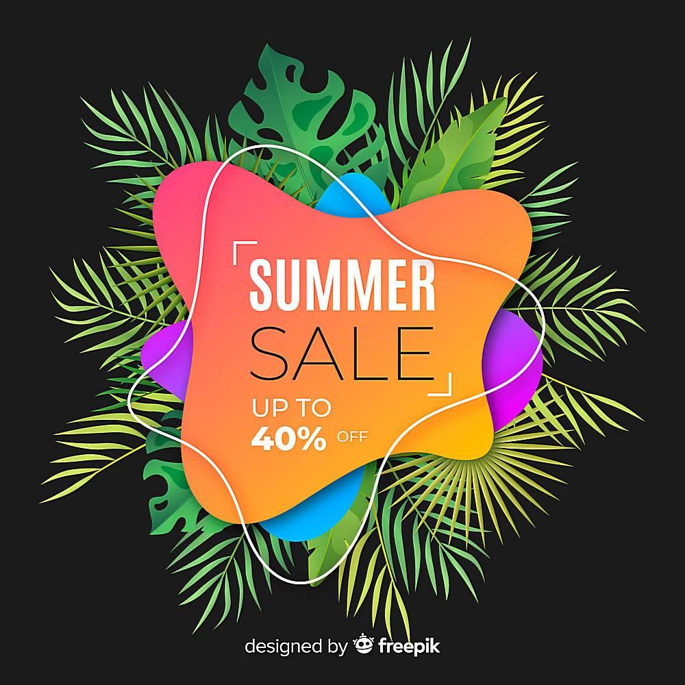 夏季特卖液形状和热带树叶背景_4651378