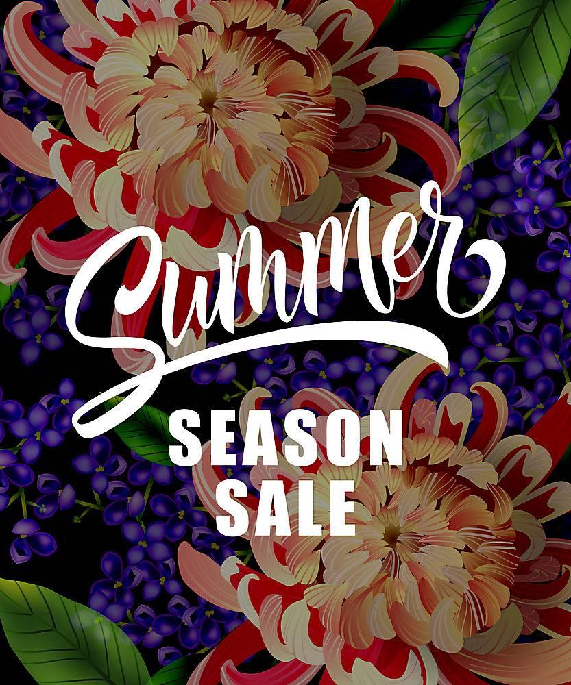 印有热带花卉的夏季特卖会夏季优惠或销售_2438928
