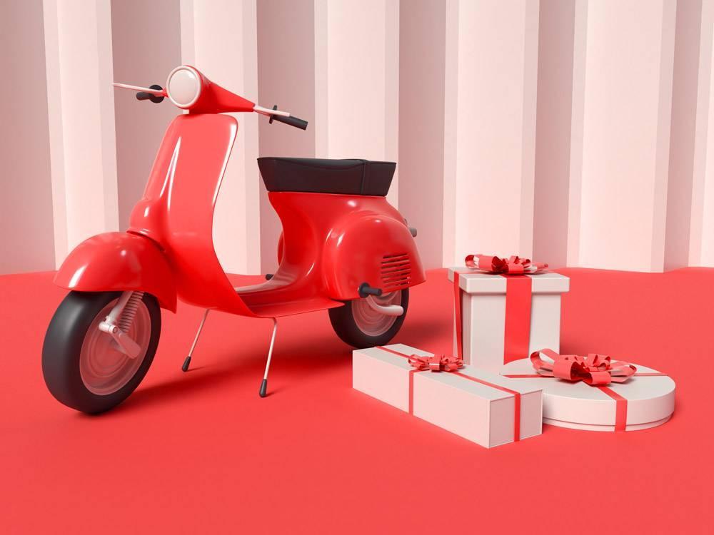 带礼品盒的送货滑板车的3D插图_12830203