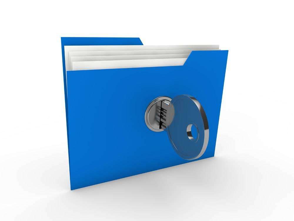 带钥匙的蓝色档案柜_959118