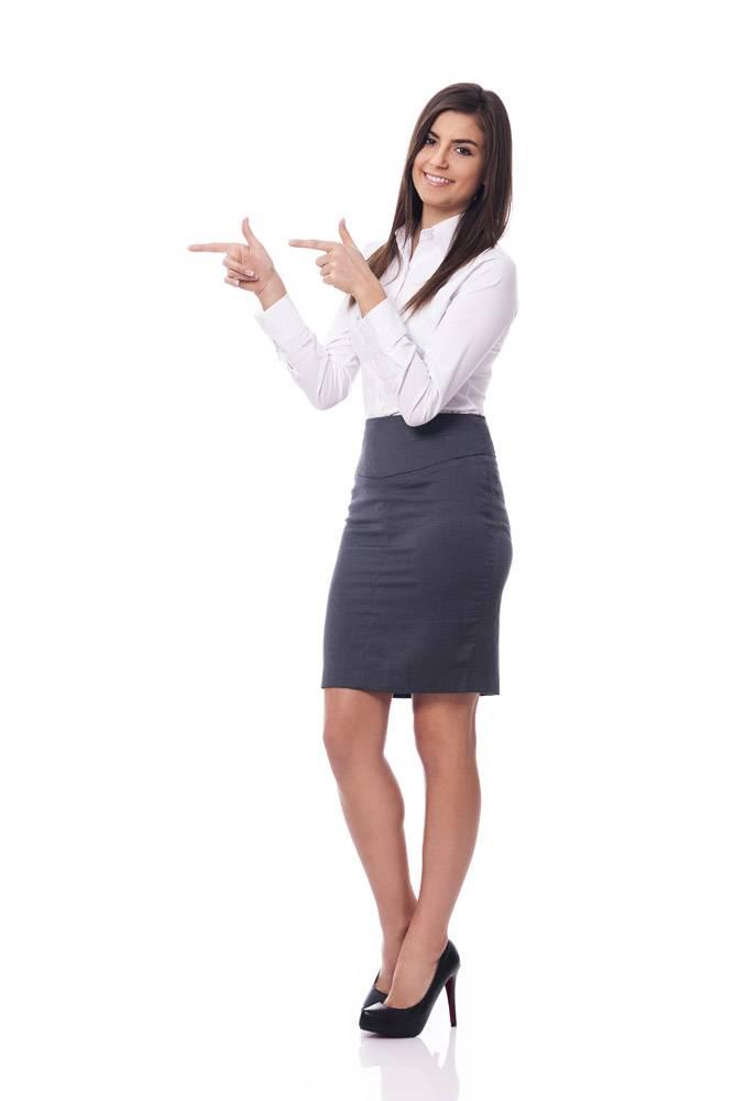 微笑的女商人指着文案空间_12652733
