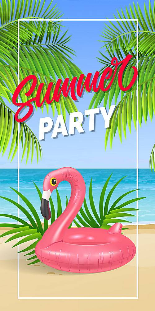 夏日聚会用海边和游泳圈相框刻字_2541743