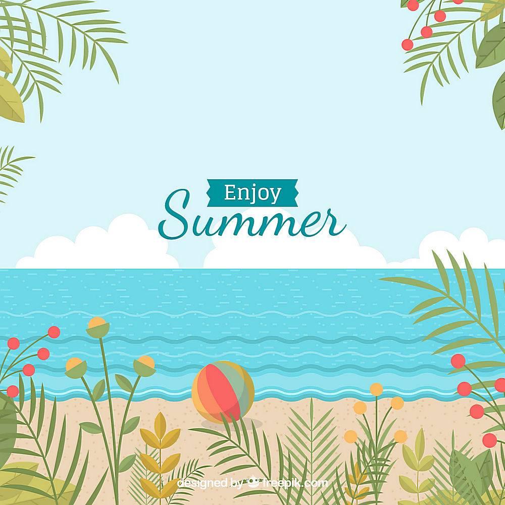 夏日背景带海滩_2554583