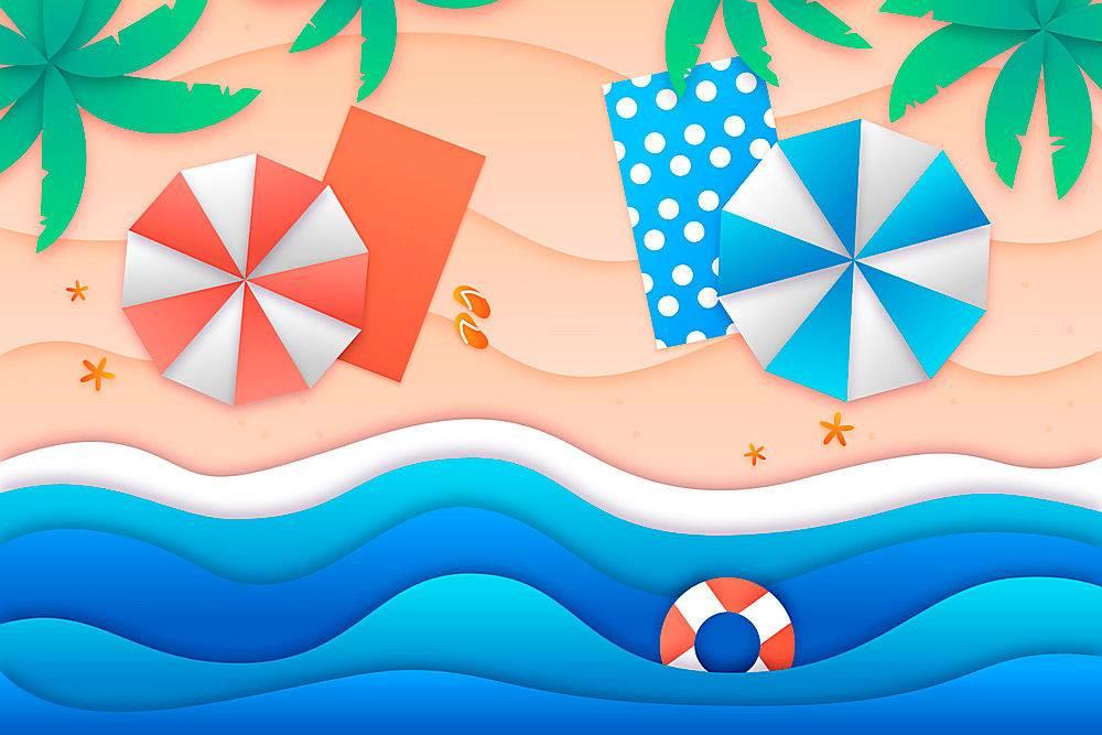 夏日背景纸质带海滩_8271221