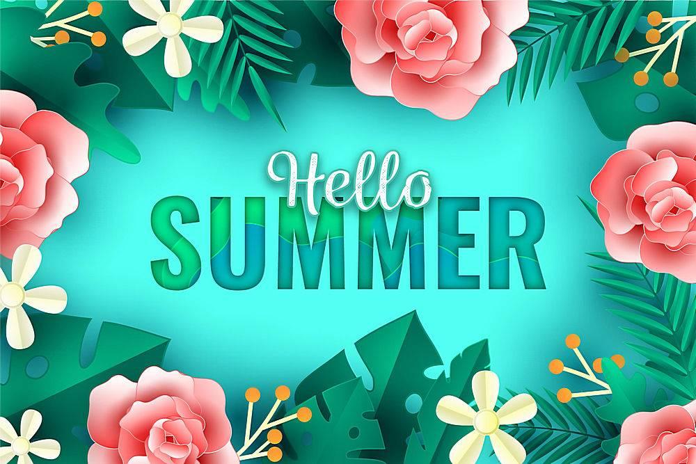 夏日背景纸质带花_8271223