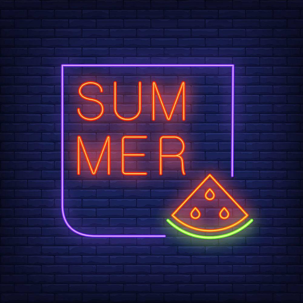 夏日霓虹灯文字与西瓜片相框季节性优惠或_2767074