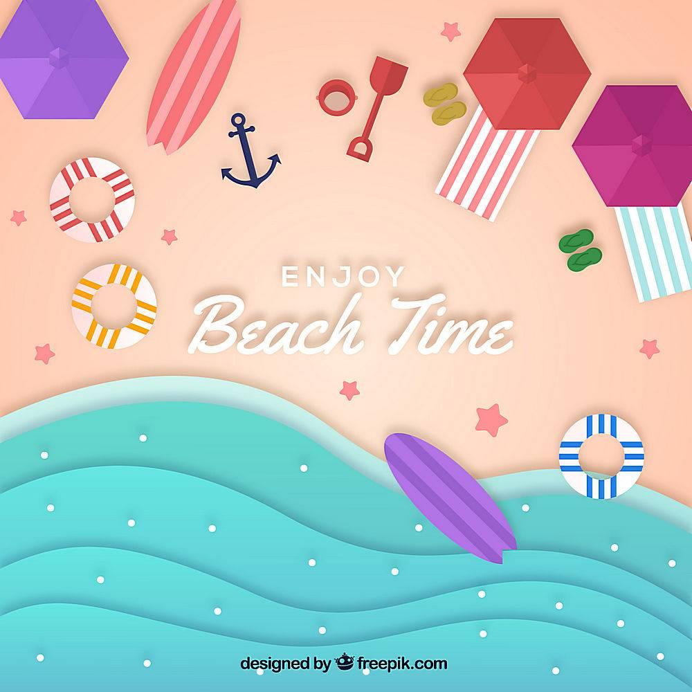 以纸质样式从顶部背景开始的海滩_2487906