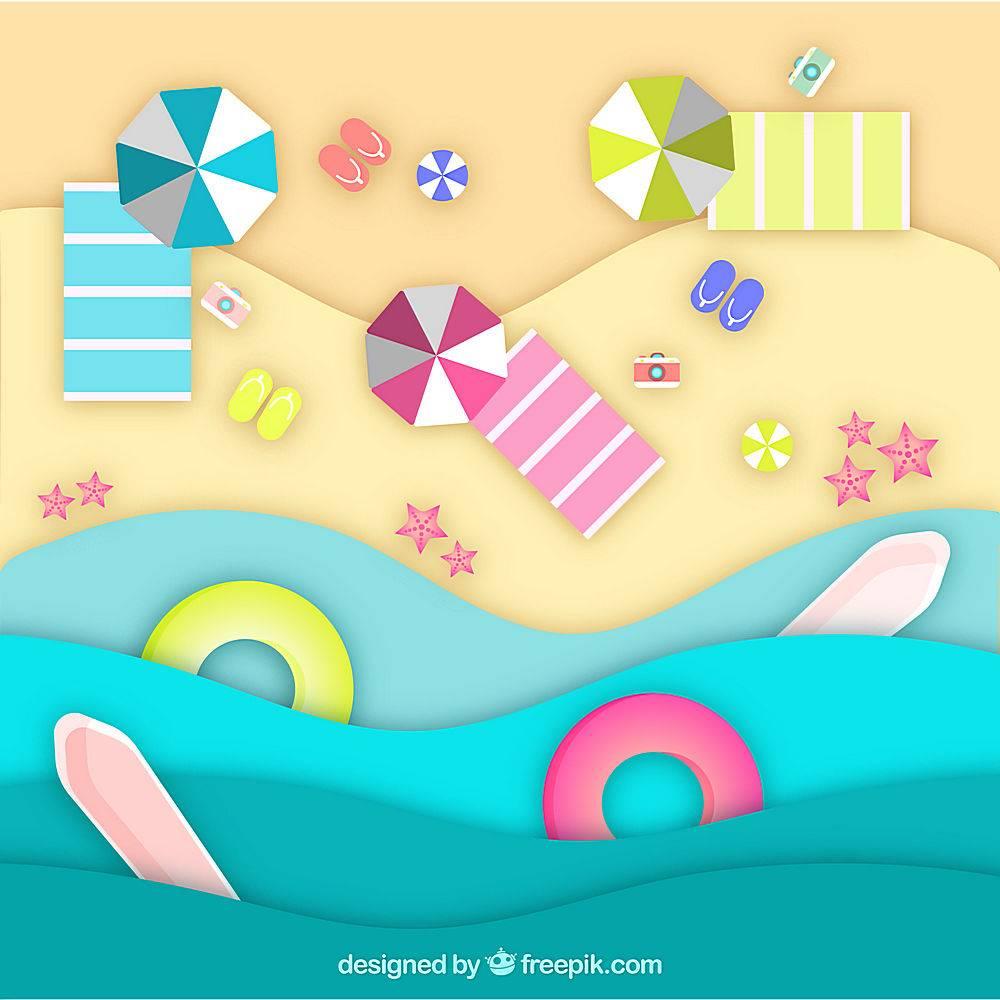 以纸质样式从顶部背景开始的海滩_2563300
