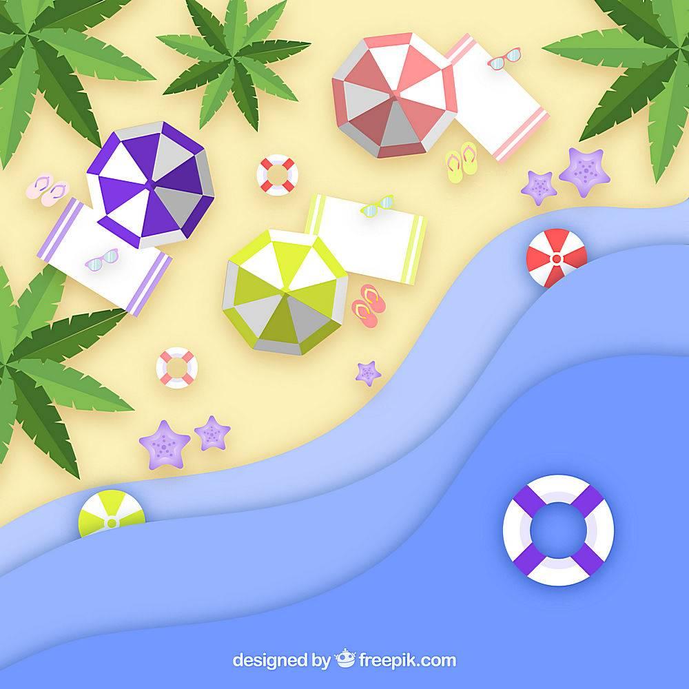 以纸质样式从顶部背景开始的海滩_2563301