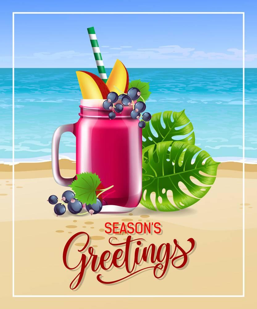 写有海滨鸡尾酒和树叶的节日问候_2541299