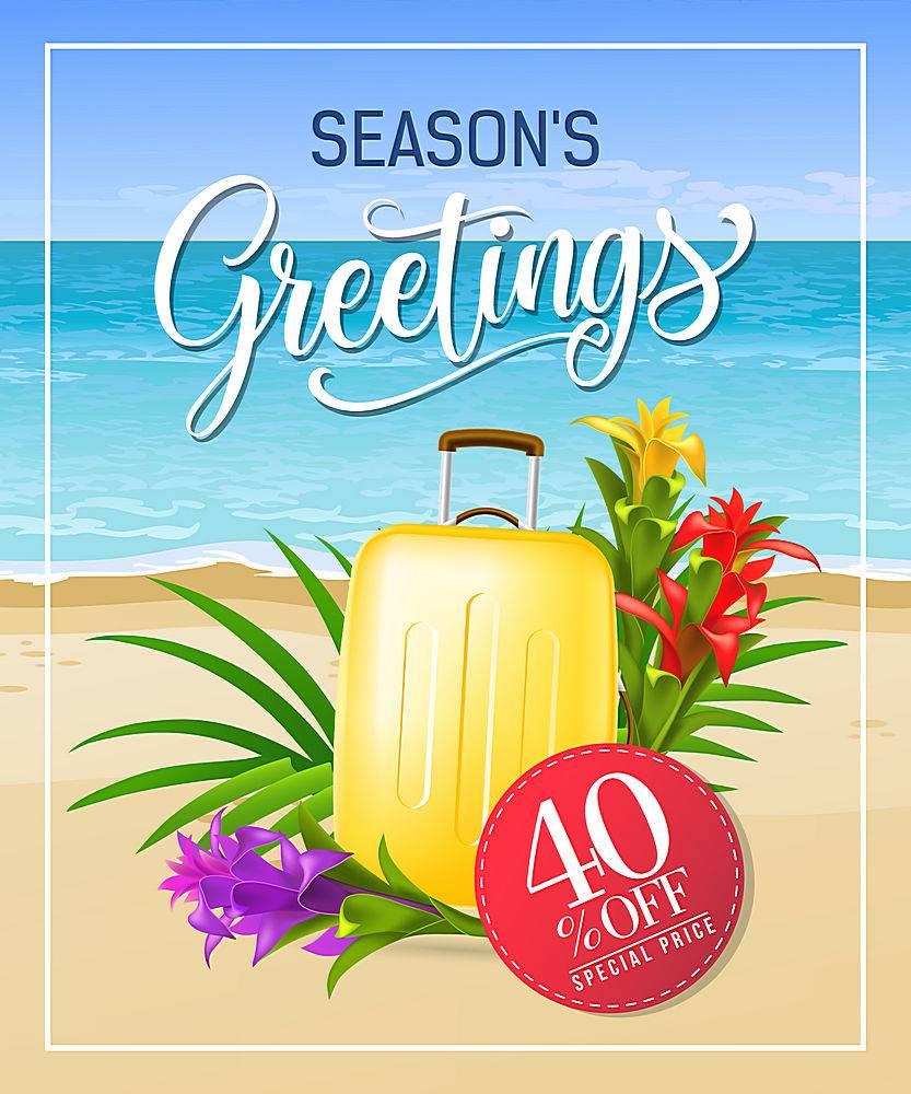 写有海边海滩和手提箱的节日祝福_2541298