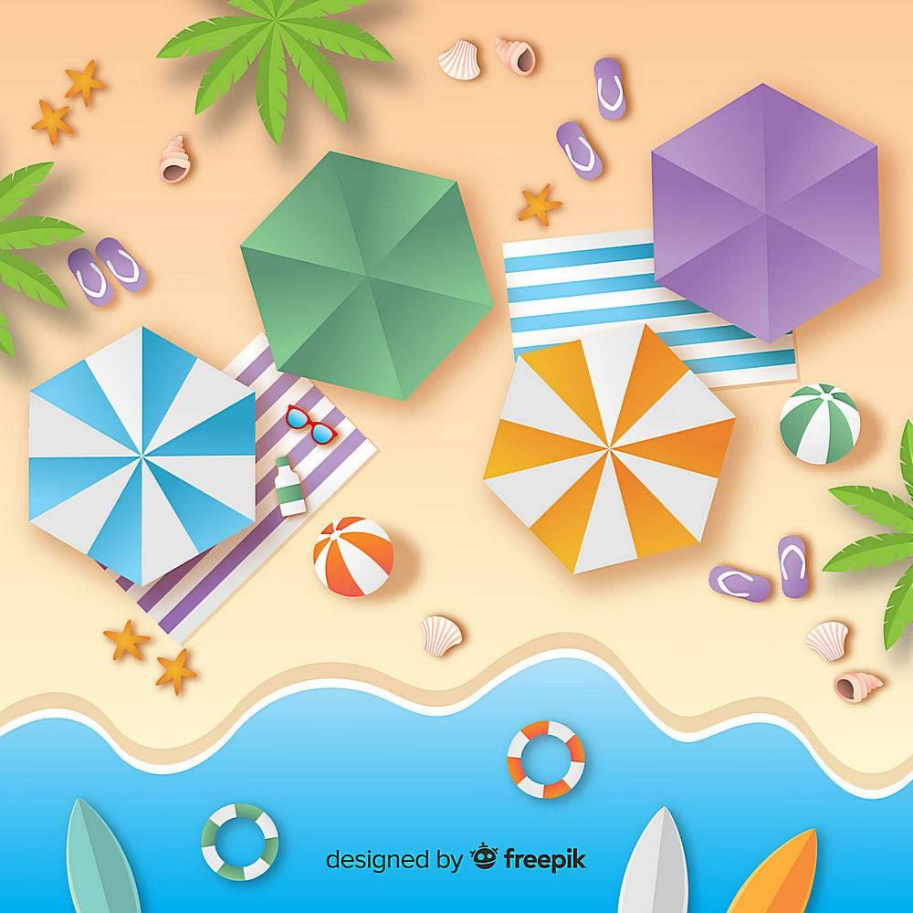 图纸样式的海滩俯视图_4528964