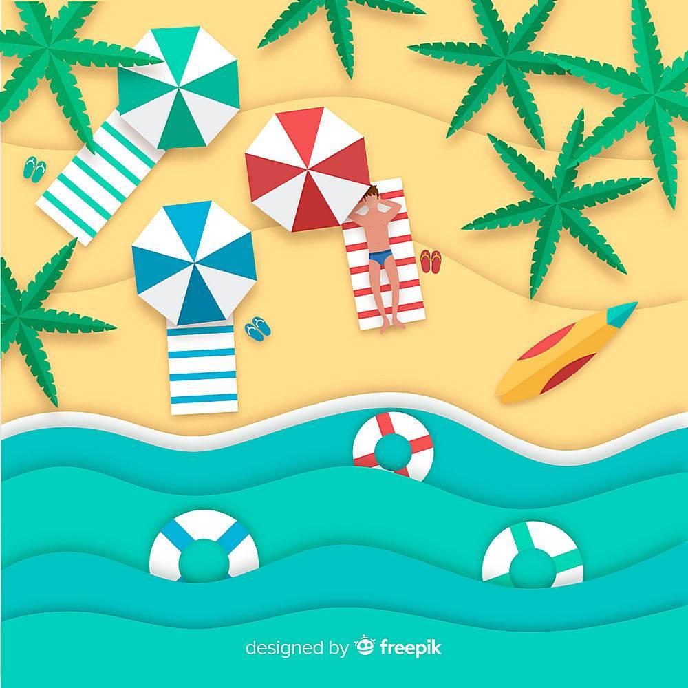 图纸样式的海滩俯视图_4539569