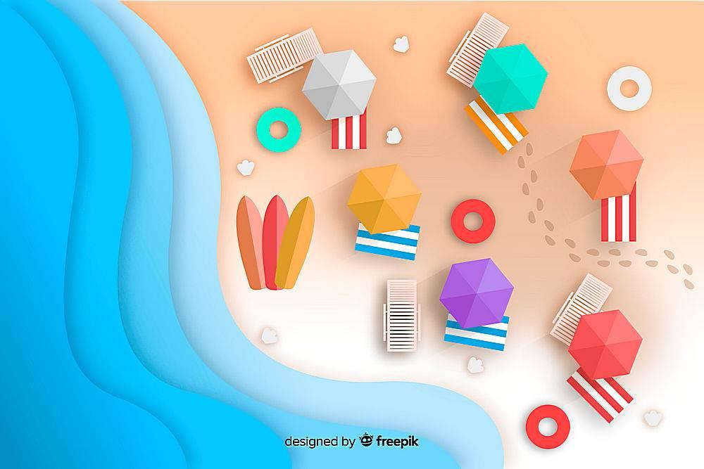 图纸样式的海滩俯视图_4539576