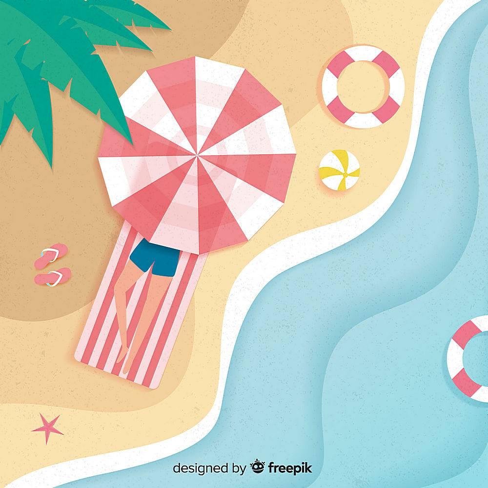 图纸样式的海滩俯视图_4544341