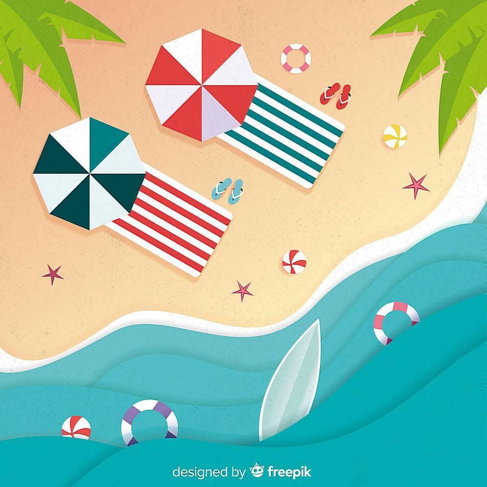 图纸样式的海滩俯视图_4544352