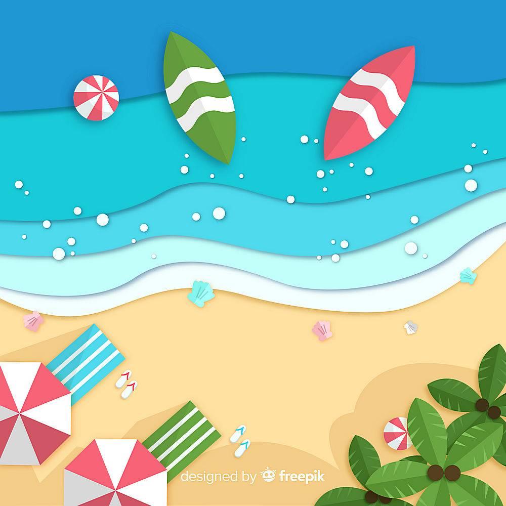 图纸样式的海滩俯视图_4551124