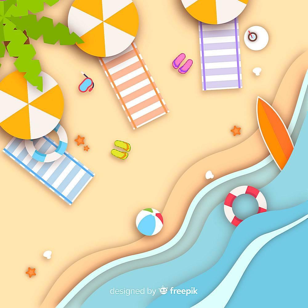 图纸样式的海滩俯视图_4566213