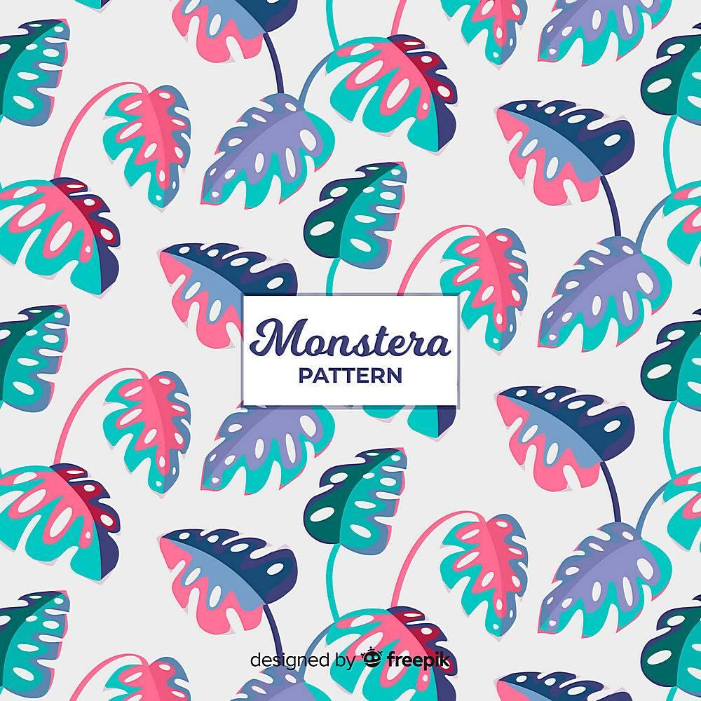 双色调Monstera叶子背景_4158513