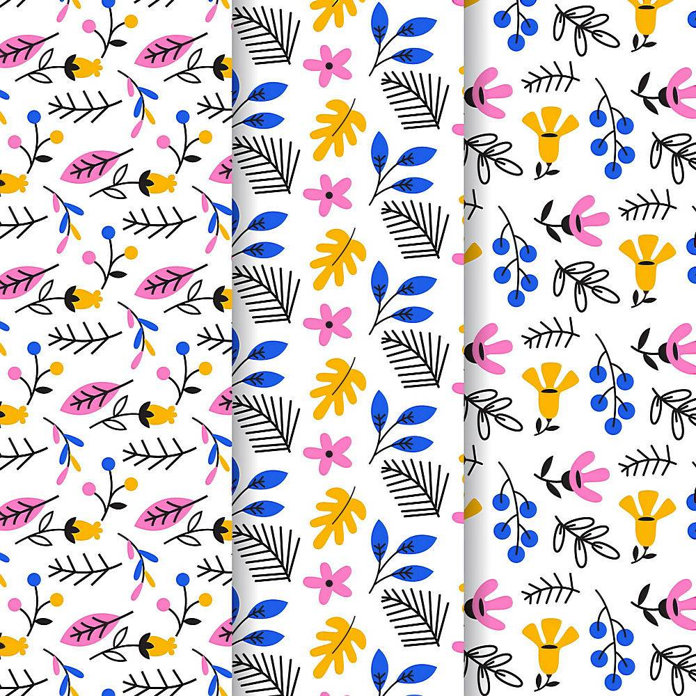 叶子和花卉图案模板_9057723