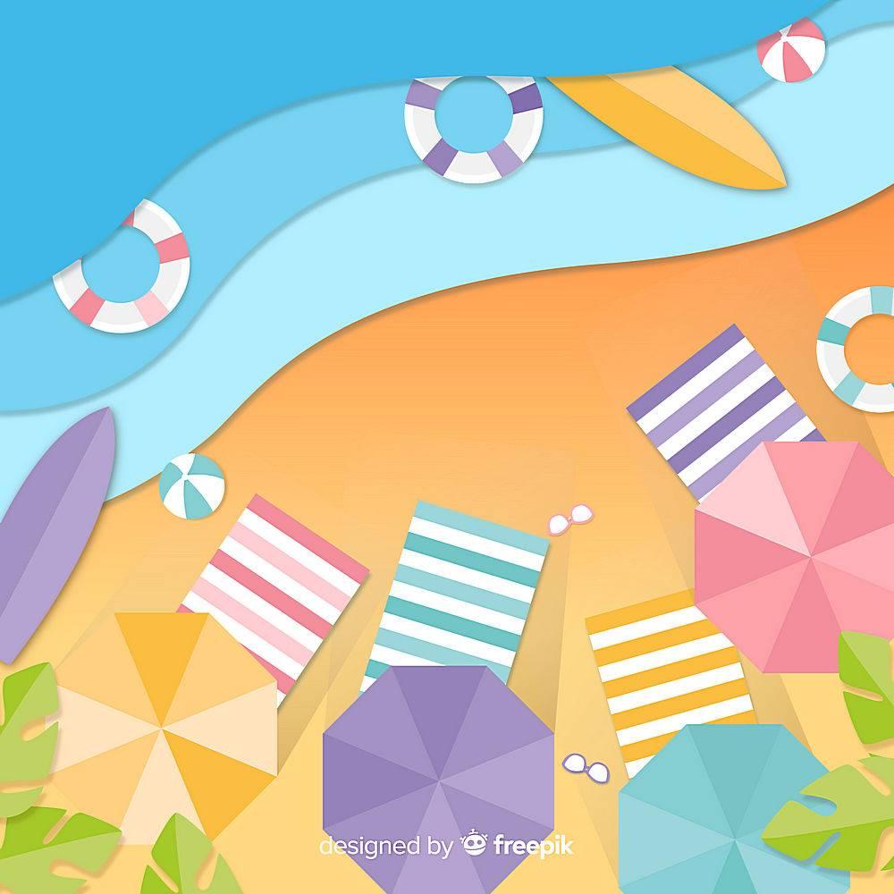 图纸样式的海滩俯视图_4490629