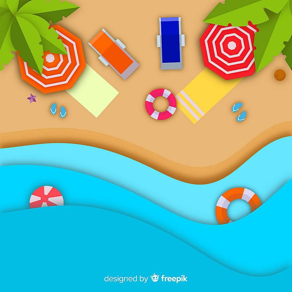 图纸样式的海滩俯视图_4490634