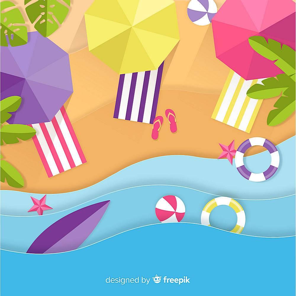 图纸样式的海滩俯视图_4490637