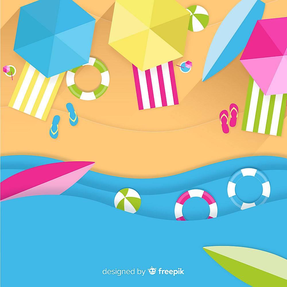 图纸样式的海滩俯视图_4490640
