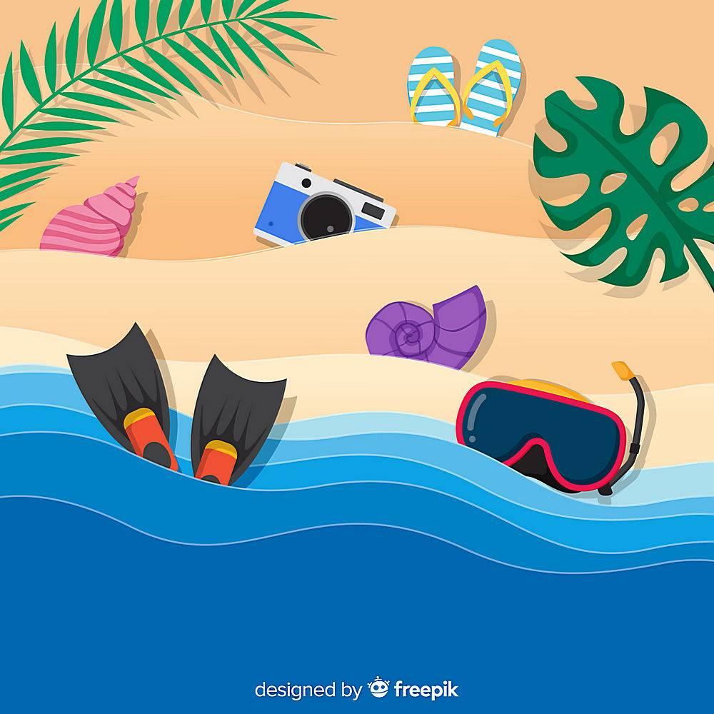 图纸样式的海滩俯视图_4490645