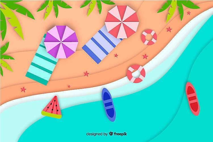 图纸样式的海滩俯视图_4497979