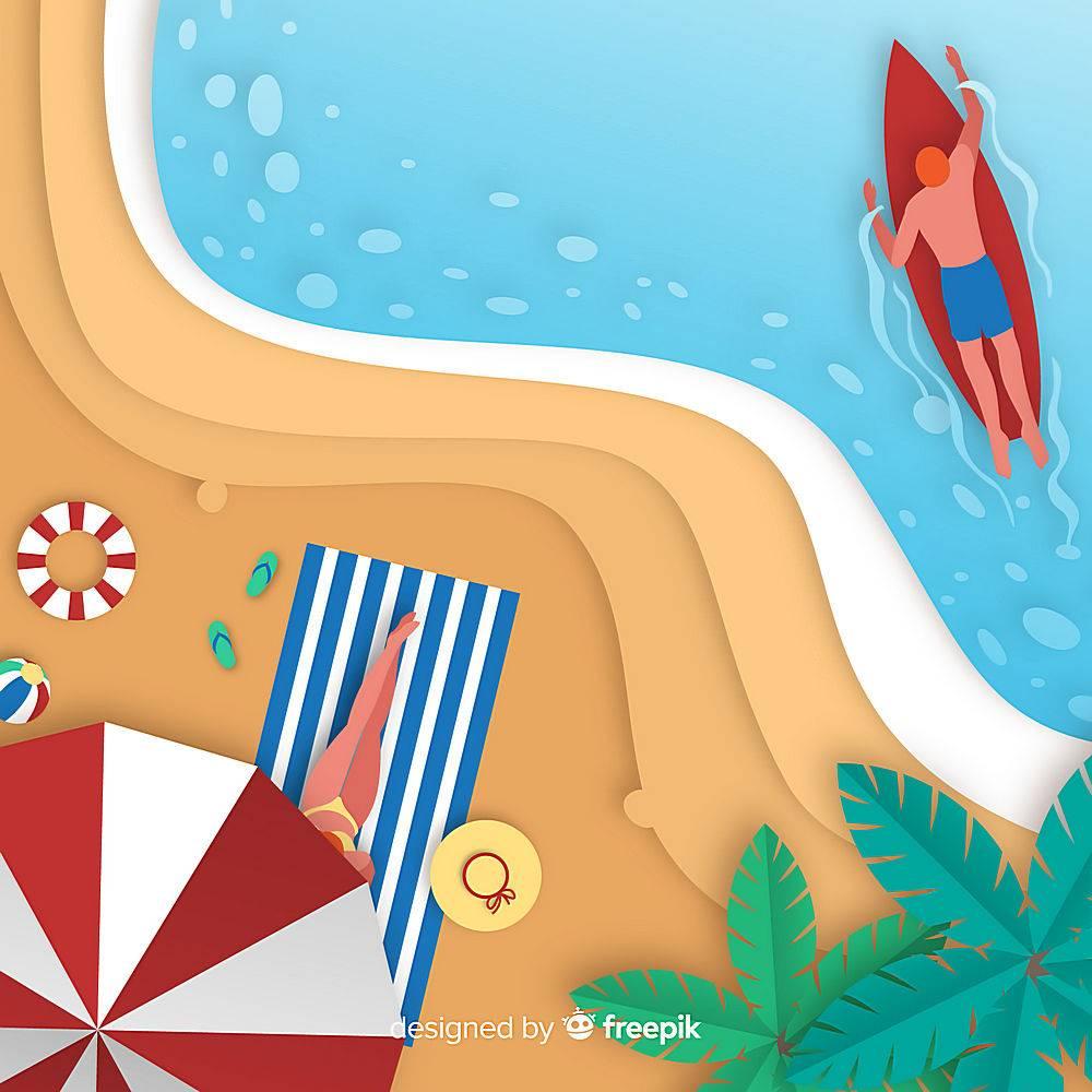 图纸样式的海滩俯视图_4497980