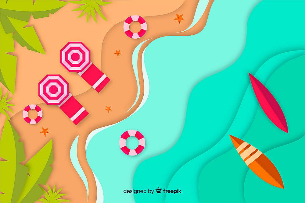 图纸样式的海滩俯视图_4497984