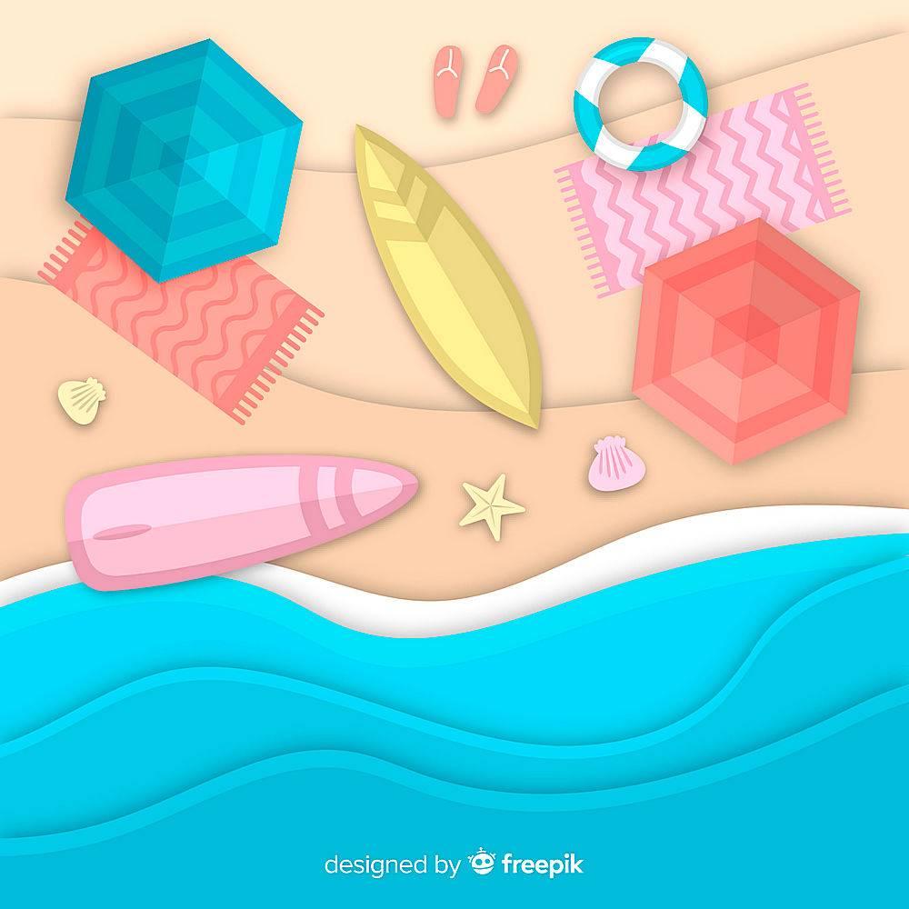 图纸样式的海滩俯视图_4497986