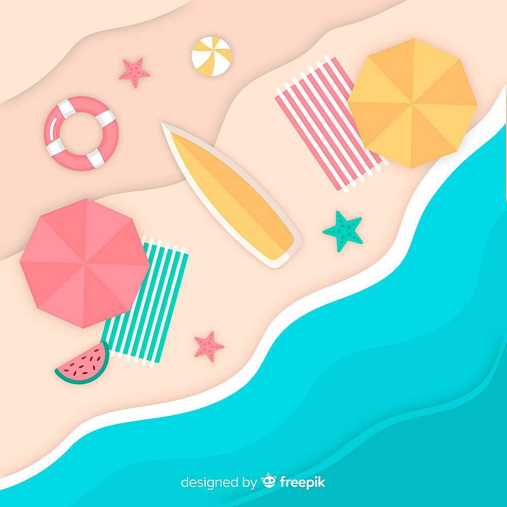 图纸样式的海滩俯视图_4497987