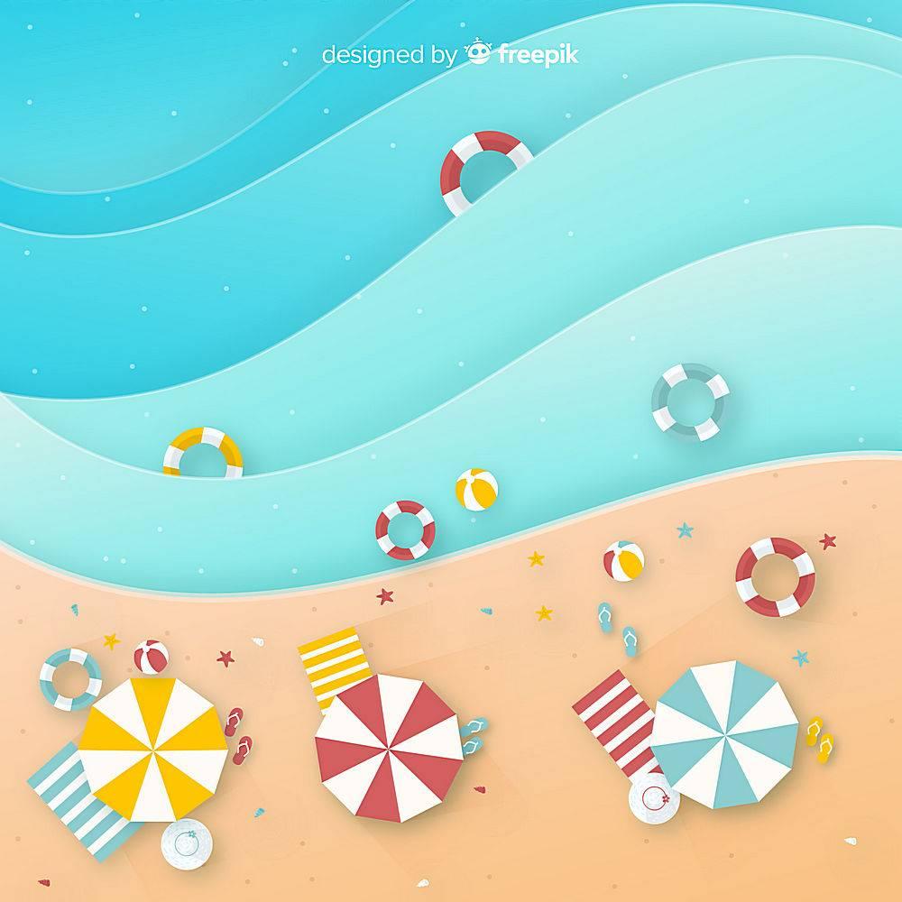 图纸样式的海滩俯视图_4510769