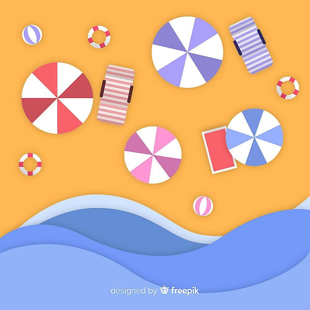 图纸样式的海滩俯视图_4566215
