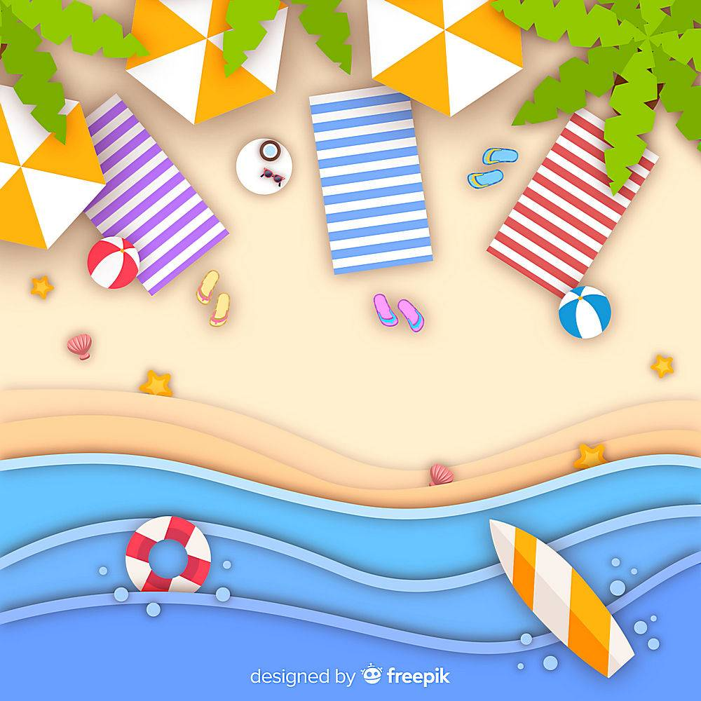 图纸样式的海滩俯视图_4566217