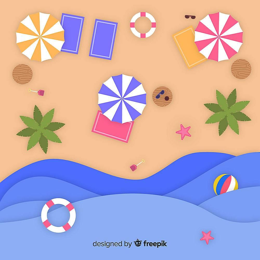 图纸样式的海滩俯视图_4566228