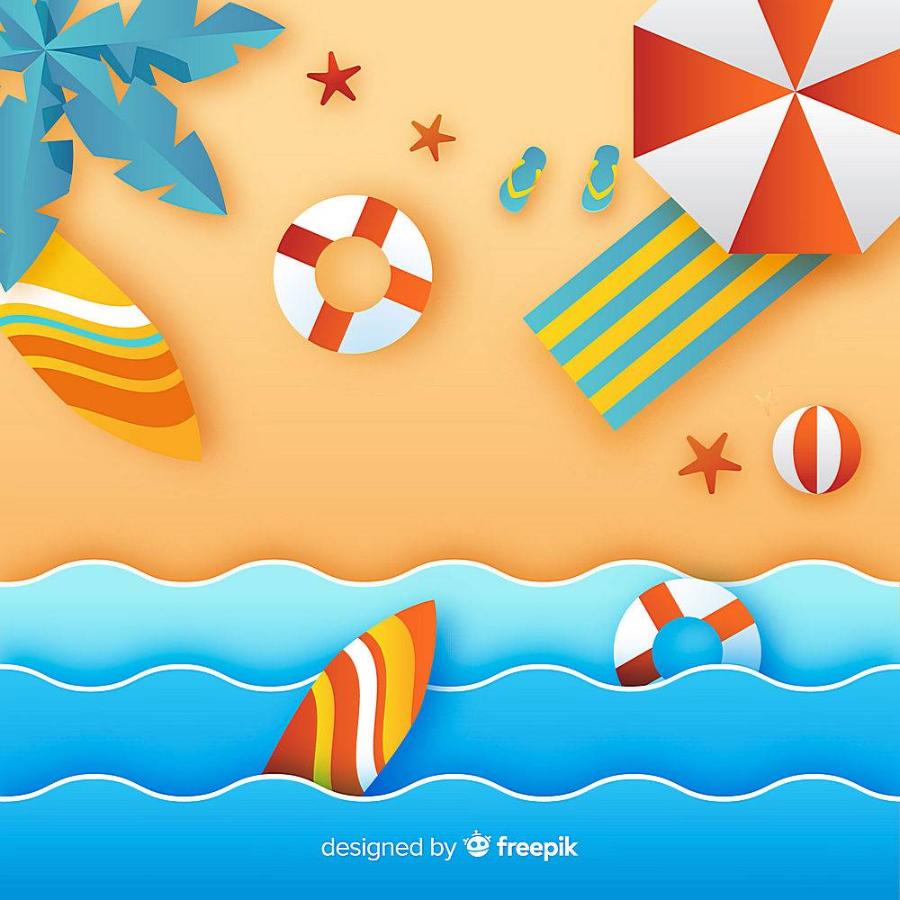 图纸样式的海滩俯视图_4584053