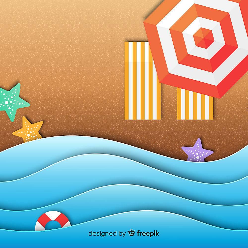 图纸样式的海滩俯视图_4591892