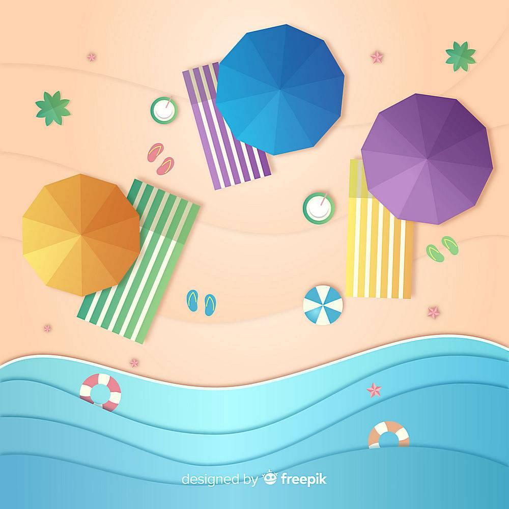 图纸样式的海滩俯视图_4595549