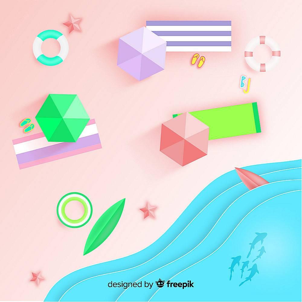 图纸样式的海滩俯视图_4636382